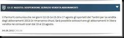 fcparma sospensione servizio abbonamenti