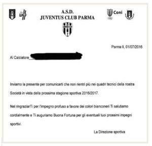 juventus club la lettera