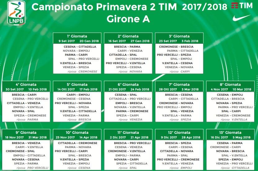 campionato primavera 2 girone A calendario