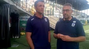 Giuseppe Cardone e Gabriele Majo dopo Pro Vercelli Parma 0 2