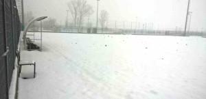 il noce campo b in sintetico sotto la neve alle 14 del 03 03 2018