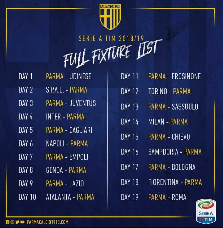 Calendario Serie A 1 Giornata.Parma Esordio In Serie A In Casa Con L Udinese Alla 3