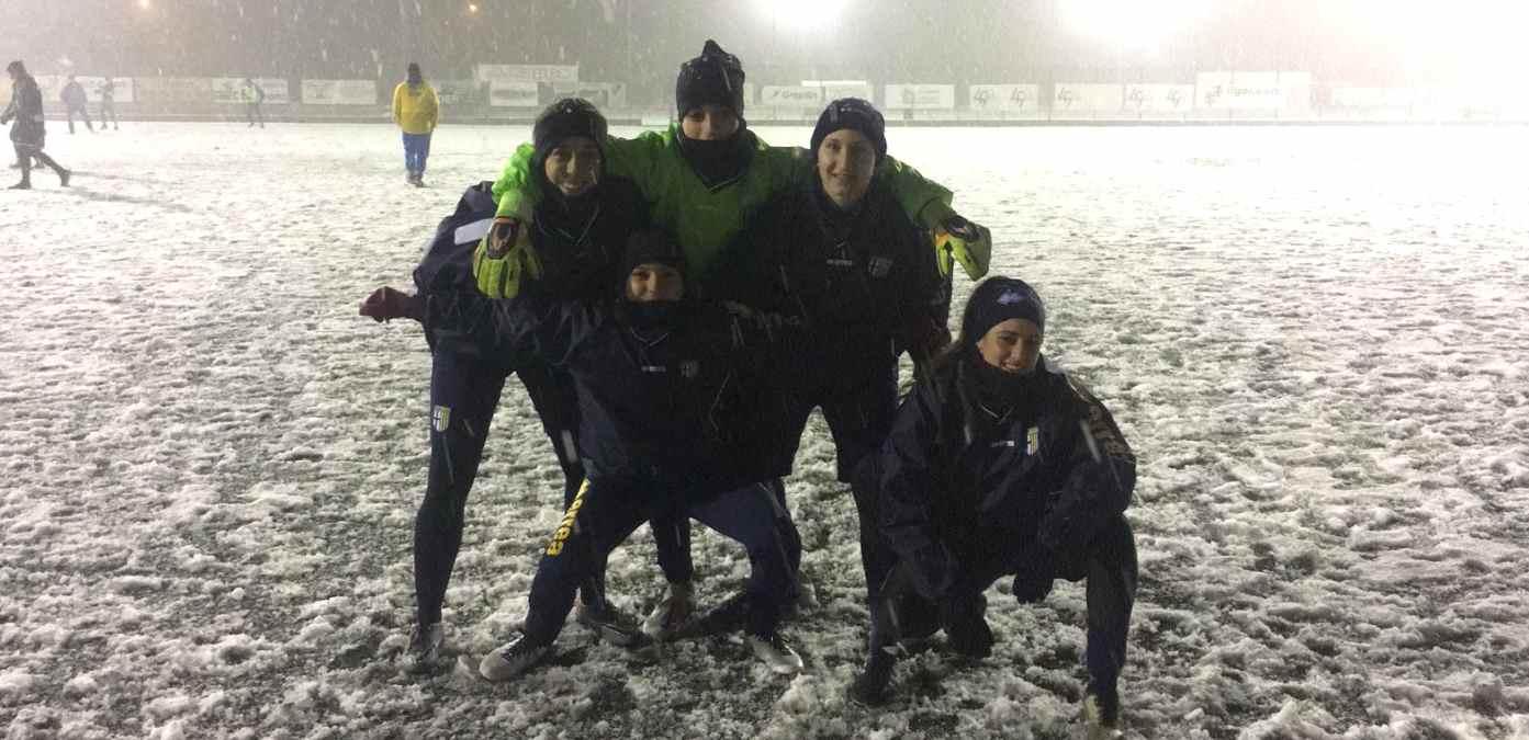 eccellenza femminile allenamento sulla neve a noceto 31 01 2019