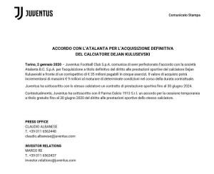 juventus comunicato kulusevski
