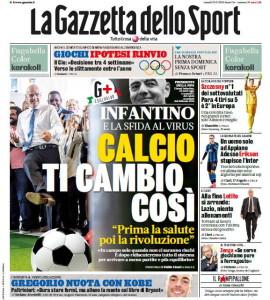 gazzetta dello sport infantino prima pagina