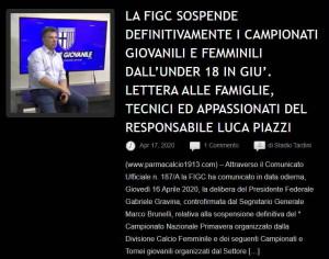 news sospensione campionati giovanili femminili