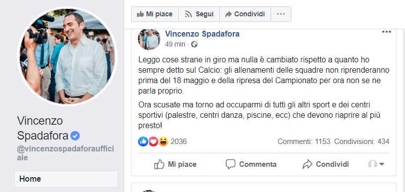 SPADAFORA FACEBOOK